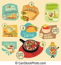 cibo, etichette, set, messicano