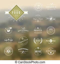 cibo, etichette, set, natura