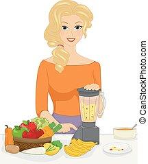 cibo, fare, illustrazione, mamma, ragazza bambino