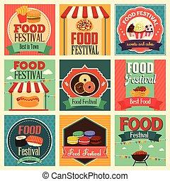 cibo, festival, icone