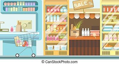 cibo, file, pieno, carrello, supermercato