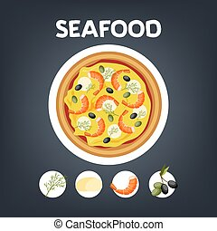 cibo, formaggio, shrimp., italiano, pizza