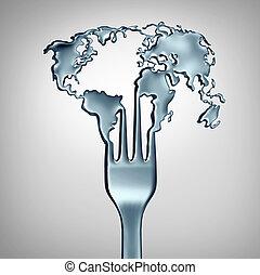 cibo, globale, concetto
