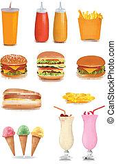 cibo, grande, set, digiuno, products.