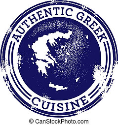 cibo, greco, classico, autentico, francobollo