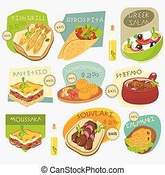 cibo, greco, etichette, set