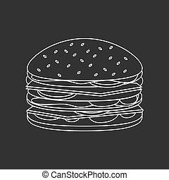 cibo, hamburger, delineato, digiuno, illustrazione