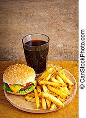cibo, hamburger, digiuno, menu