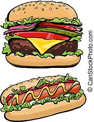 cibo, illustrazione, hamburger, vettore, digiuno, hotdog
