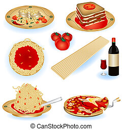 cibo, illustrazioni, italiano