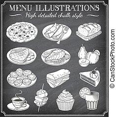 cibo, illustrazioni, vettore, lavagna