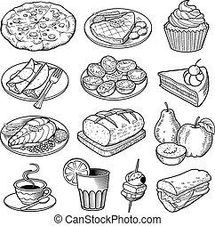 cibo, illustrazioni, vettore