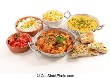 cibo, indiano, assortito