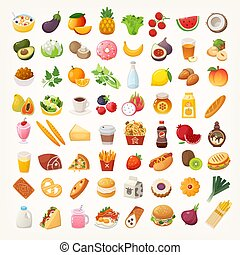 cibo, ingredienti, piatti, icone