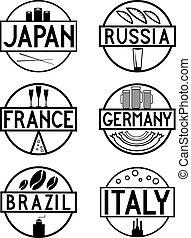 cibo, internazionale, etichette, set, contrassegni