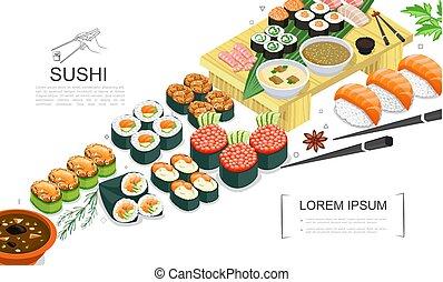 cibo, isometrico, sushi, collezione