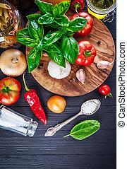 cibo italiano, preparazione, pasta, su, asse legno