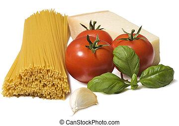 cibo italiano, spaghetti, ingredienti