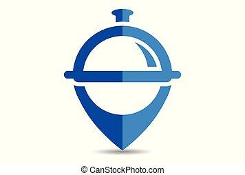 cibo, logotipo, posizione, ristorante
