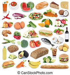 cibo mangia, verdura, isolato, collezione, sano, frutta, fondo, frutte, bibite