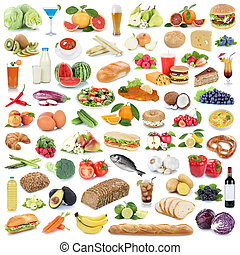 cibo mangia, verdura, isolato, collezione, sano, frutta, frutte, bibite