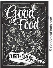cibo, manifesto, buono, gesso