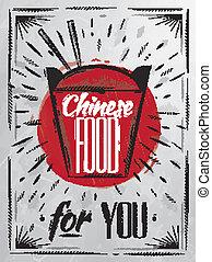 cibo, manifesto, cinese, carbone