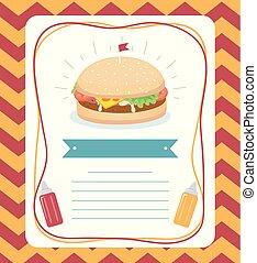 cibo, manifesto, illustrazione, hamburger