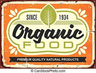 cibo, manifesto, organico, retro, segno