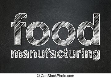 cibo, manufacuring, lavagna, fondo, manifatturiero, concept: