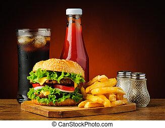 cibo, menu, hamburger, digiuno