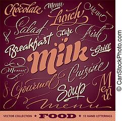 cibo, menu, titoli, set, (vector)