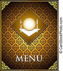 cibo, menu, vettore, coperchio, sagoma