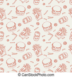 cibo, modello, digiuno, mano, scarabocchiare, disegnato