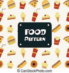 cibo, modello, immagine, ghiaccio, hamburger, panetteria, vettore, fondo, pizza, crema