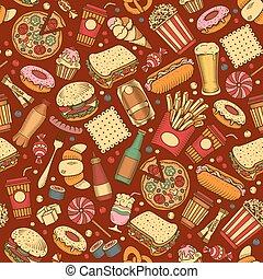 cibo, modello, seamless, digiuno