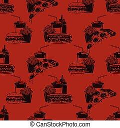 cibo, modello, seamless, illustrazione, borgogna, cene, vettore, digiuno, combinazione, fondo