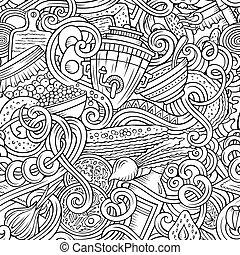 cibo, modello, seamless, russo, doodles, cartone animato