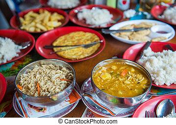 cibo, montagna, trekking, nepalese