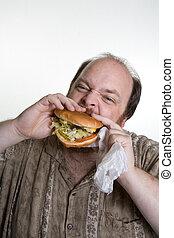 cibo, obeso, mangiare, digiuno, uomo