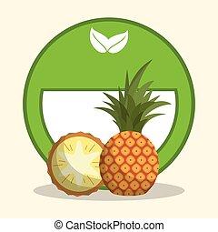 cibo, organico, dieta, ananas
