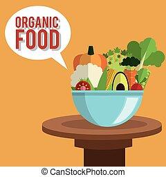 cibo organico, illustrazione, vettore, disegno, icona
