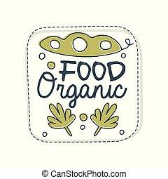 cibo, organico, logotipo, etichetta, per, cibo sano, negozio, vegan, negozio, vegetariano, caffè, ecologia, ditta, naturale, prodotti, eco, mercato, agricoltura, mano, disegnato, vettore, illustrazione, su, uno, sfondo bianco