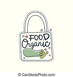cibo organico, logotipo, sagoma, etichetta, per, cibo sano, negozio, vegan, negozio, vegetariano, caffè, ecologia, ditta, naturale, prodotti, eco, mercato, agricoltura, mano, disegnato, vettore, illustrazione, su, uno, sfondo bianco