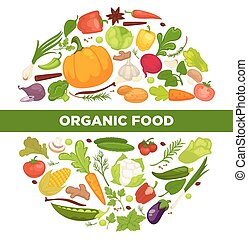 cibo organico, manifesto, verdura, promozionale, cerchio