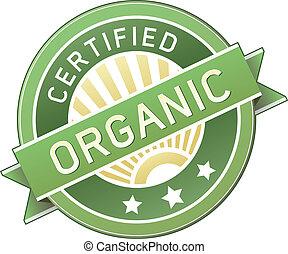 cibo organico, o, etichetta prodotto