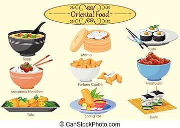 cibo, orientale, collezione, delizioso