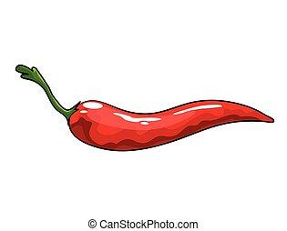 cibo., pepe, mano, pepper., disegnato, messicano, sano, ...