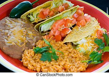 cibo, piastra, messicano, colorito