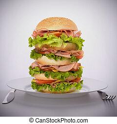 cibo, piastra, panino, digiuno, grande